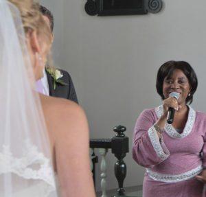 gospel, soul and jazz singer singing at a wedding