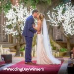 wedding reality TV shows bride in white dress, groom in smart dark blue suit