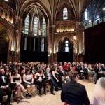 Wedding Church Service bride and groom sitting at church altar in Vondelkerk