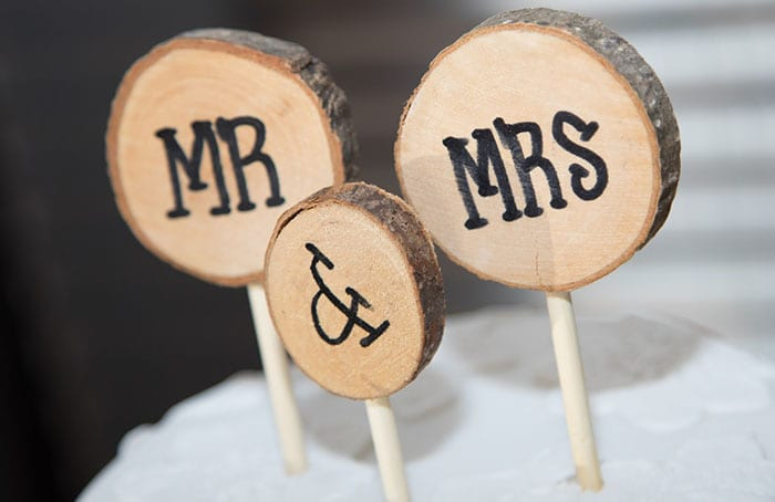wedding planning hacks mr and mrs sign made from wood