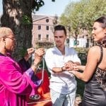 wedding ceremony rituals celebrant binds couples hands