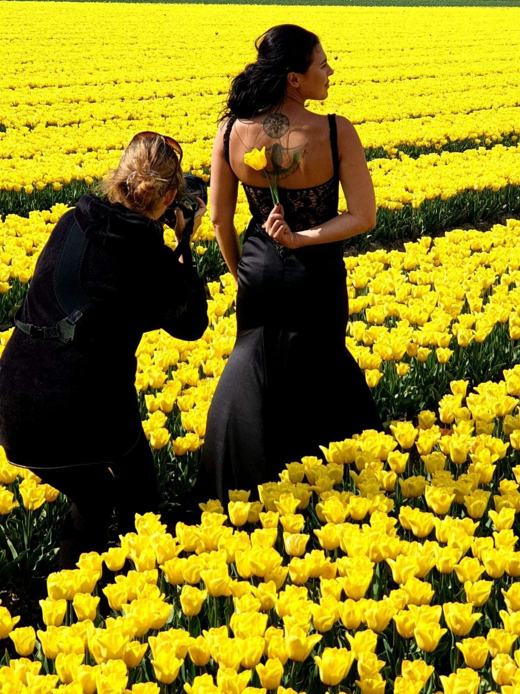 Dutch tulips photographer taking pictures of bride among tulip field
