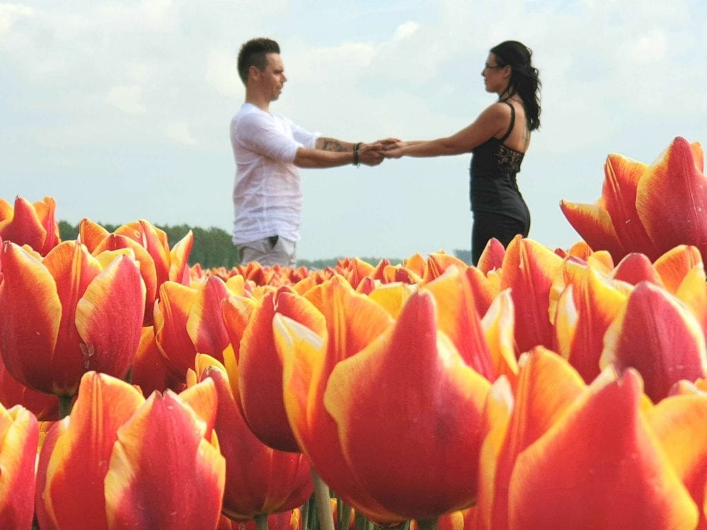 elopement wedding man and woman holding hands standing in tulip field