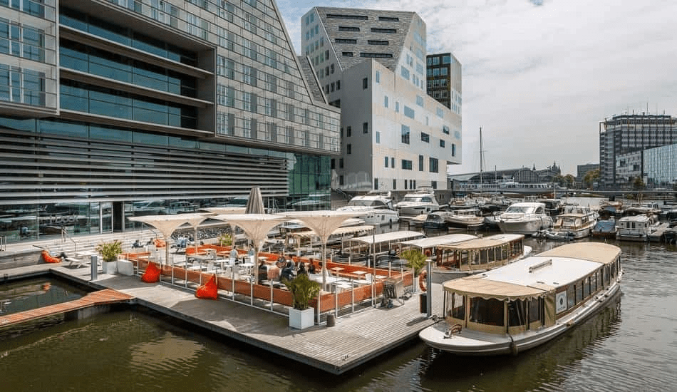 Waterside wedding restaurants boat in harbour of Amsterdam