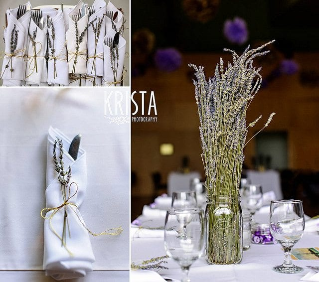 wedding planning checklist silver cutlery white serviettes, wine glasses and lavender in a jar on a table