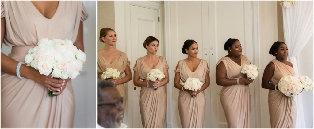 bridesmaids dressed in soft beige dresses holding pink and white bouquets