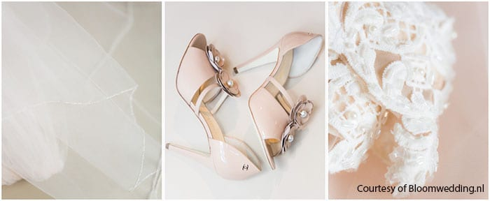 humanist wedding ceremony offwhite veil with cream coloured chanel bridal shoes