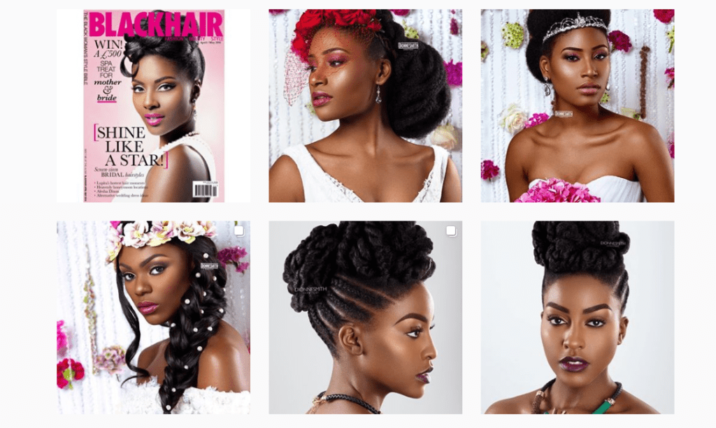 Natural Afro wedding hairstyle brides of colour in bridal gowns