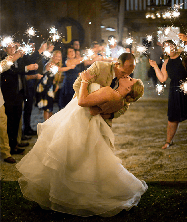 New Year's Eve Wedding Etiquette newlyweds kissing under a sparkler sendoff