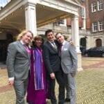Ceremonie tekst schrijven wedding reviews woman in purple robe with gay couple dressed in grey wedding suits