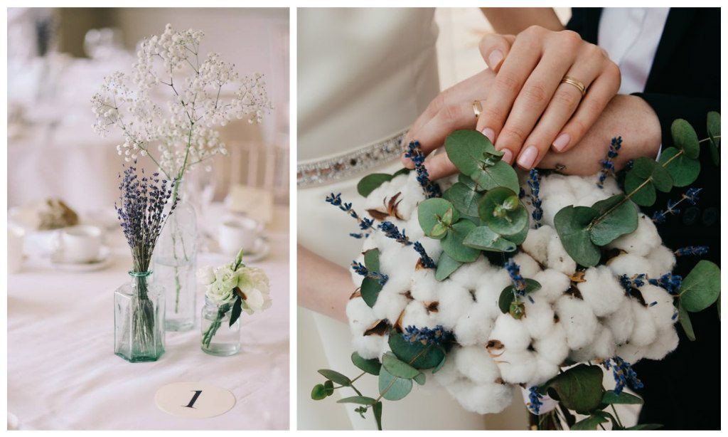 the biggest wedding trends bridal bouquet made of cotton buds and dried flowers
